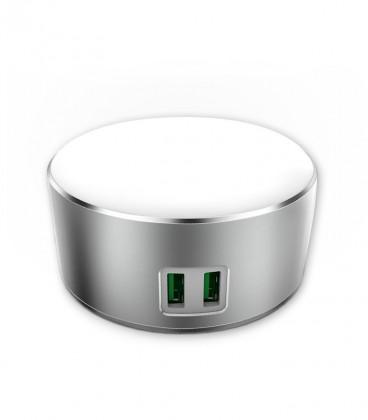 Luz nocturna (Touch control) con Cargador 2 tomas USB 2,4A