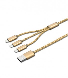 Cable USB 3 en 1. Android+ IOS + Tipo C 1,2 metros