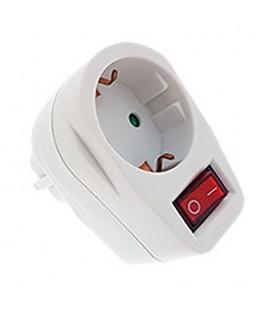 Adaptador frontal 16A con interruptor blanco