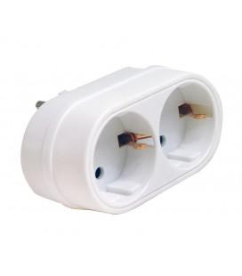 Adaptador doble frontal 16A blanco