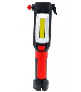 Luz emergencia coche con cuchilla cortacinturones y martillo parabrisas