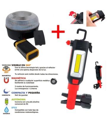 Pack emergencia coche Luz V16 + linterna emergencia