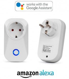 Enchufe 10A WIFI con protección sobretensión e interruptor, compatible con Google Home y Amazon Alexa