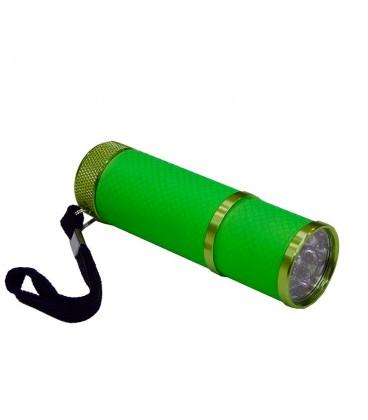 """Linterna aluminio de 9 led y cuerpo luminiscente verde con pilas LR03 """"AAA"""" 1,5V incluidas"""