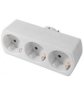 Adaptador triple frontal 16A blanco