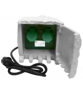 Piedra de jardín con dos tomas IP44 cable 1,5M H07RN-F