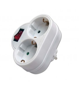 Adaptador doble frontal blanco 16A con interruptor