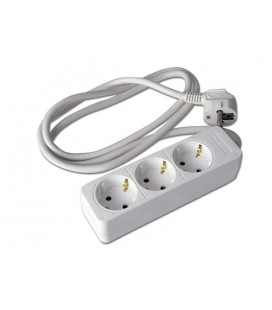 Base 3 tomas s/interruptor 1,5M blanco