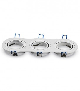 ARO TRIPLE ORIENTABLE REDONDO ENCASTRABLE ALUMINIO BLANCO