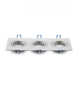 ARO TRIPLE ORIENTABLE CUADRADO ENCASTRABLE ALUMINIO BLANCO
