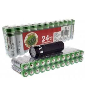 24 Pilas AA en pack con Linterna de Regalo